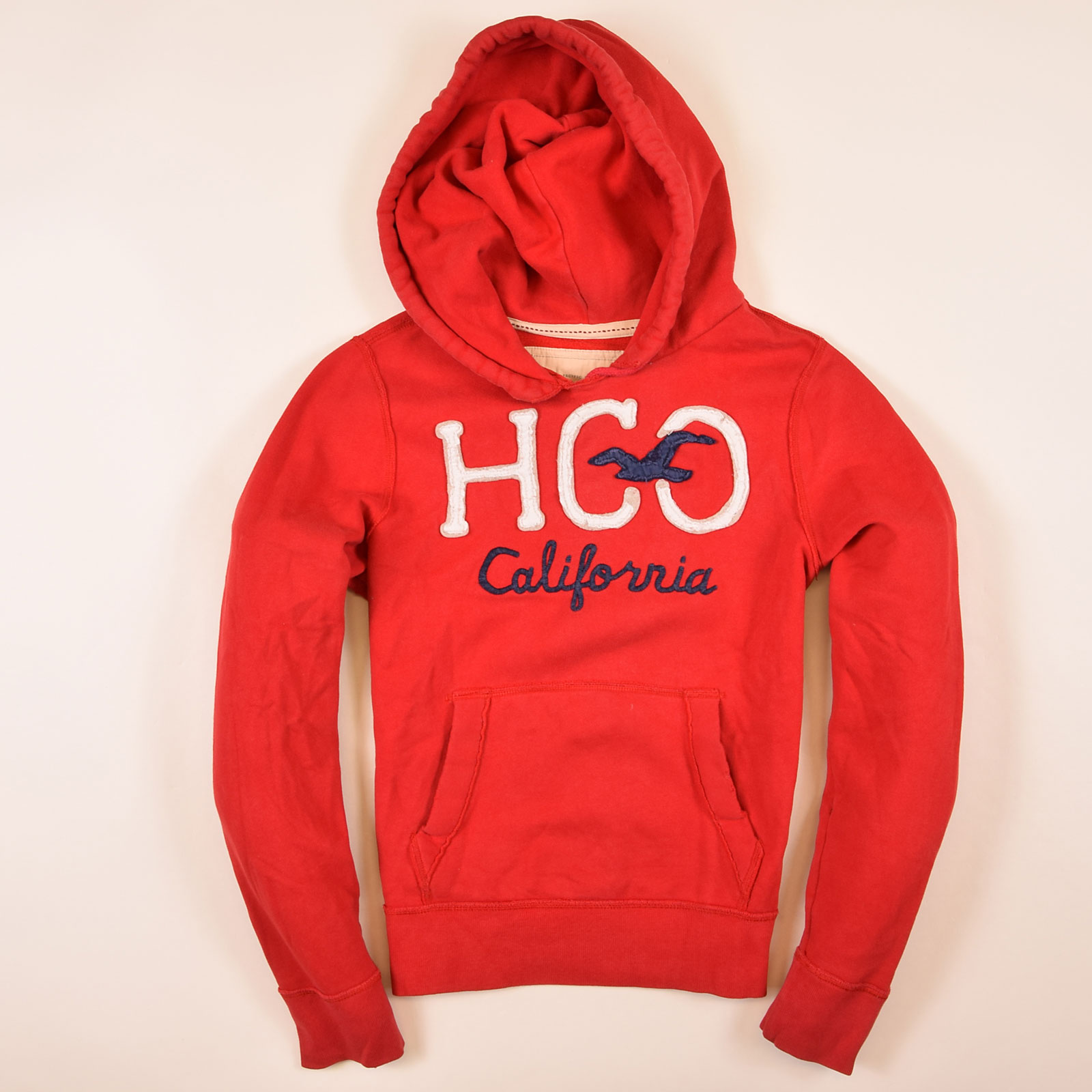 Details zu Hollister California Herren Hoodie Kapuzenpullover Gr.S Vintage HCO Rot, 69021